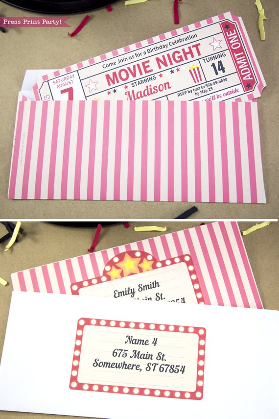 movie night ticket stub invitation coming out of a printable envelope.