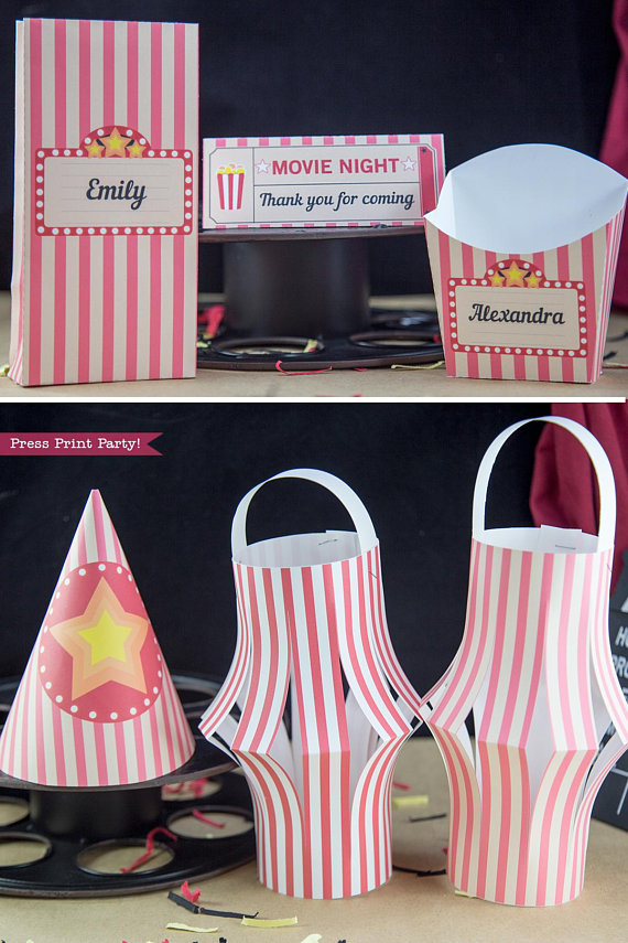 Movie night favor boxes, party hats and lantern decorations. - Press Print Party!
