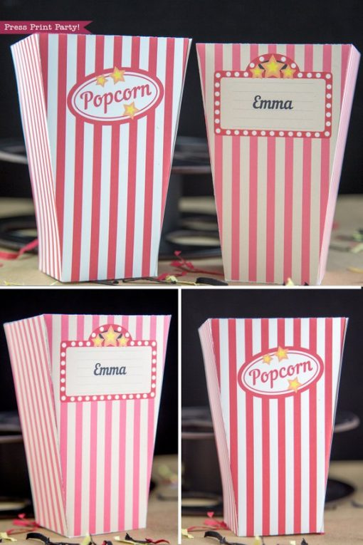 2 Popcorn box printables. vintage look w red and white stripes.
