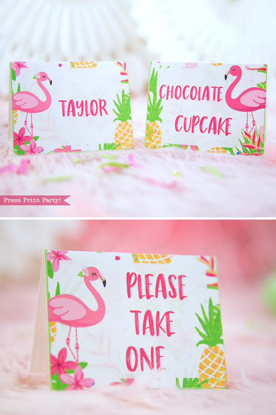 Flamingo party place cards with girl and boy flamingo - Printables by Press Print Party!