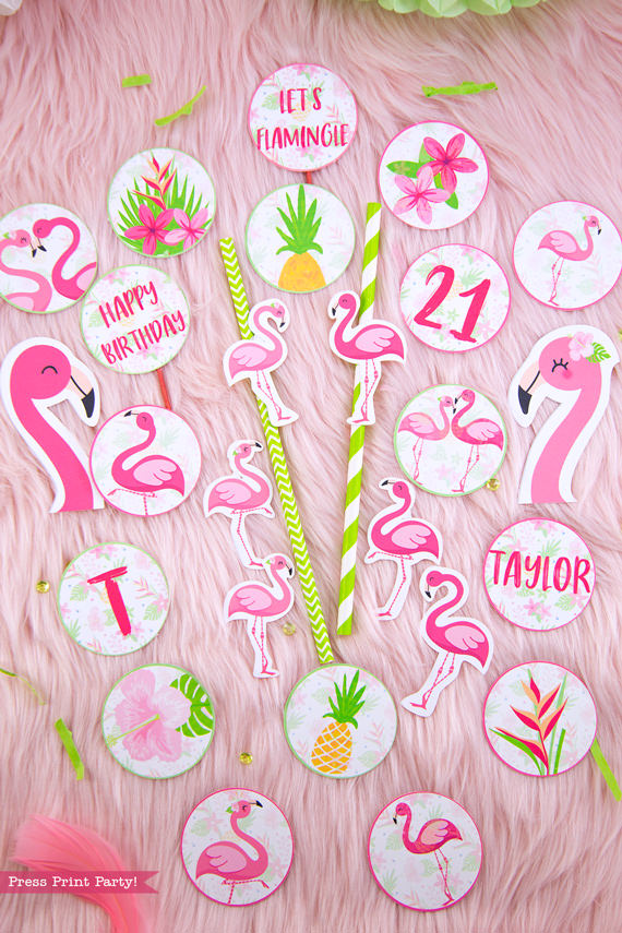 Flamingo party cupcake wrappers and toppers with girl and boy pink flamingos - Printables by Press Print Party!