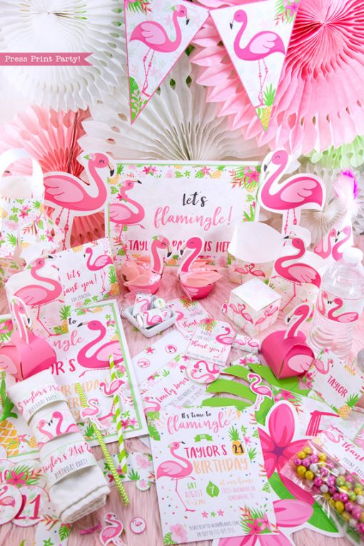 Flamingo party diy bundle with girl and boy pink flamingos - Printables by Press Print Party!