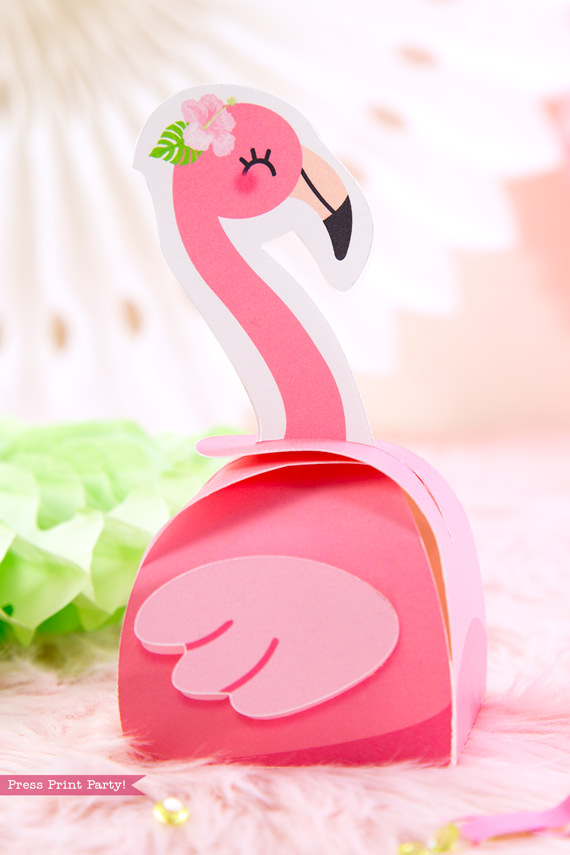 Flamingo party favor boxes DIY with girl pink flamingos - Printables by Press Print Party!