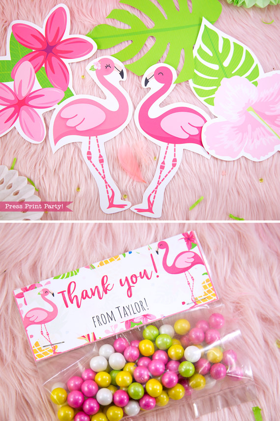 Flamingo party wall decor and thank you bags toppers with girl and boy pink flamingos - Printables by Press Print Party!