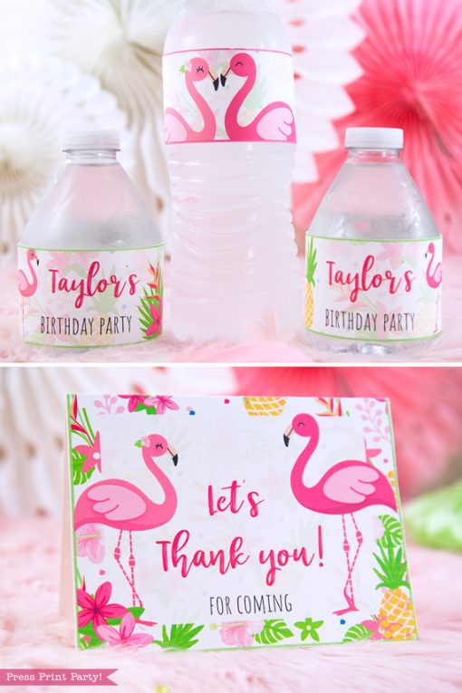Flamingo party water bottle labels and thank you notewith girl and boy pink flamingos - Printables by Press Print Party!