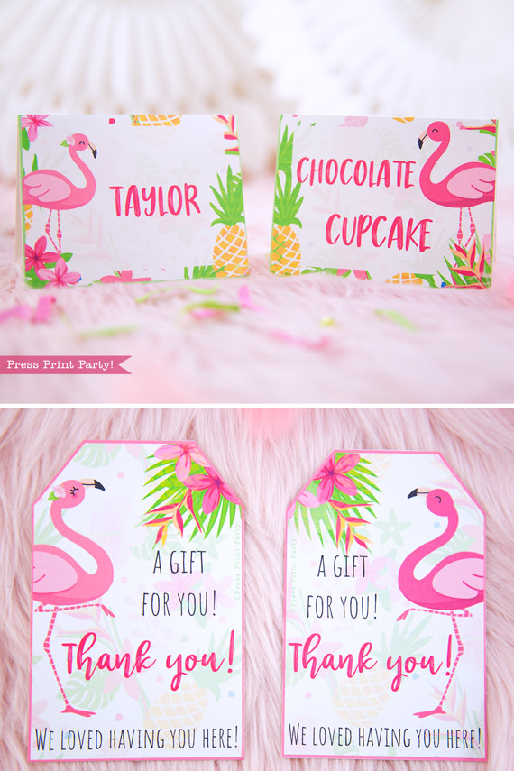 Flamingo party place cards and favor tags with girl and boy flamingo - Printables by Press Print Party!