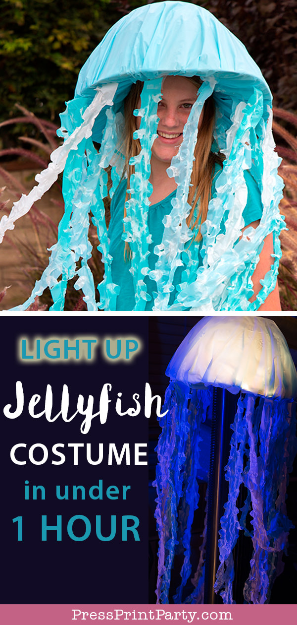 easy Light up Jellyfish Costume DIY - jelly fish costume halloween. under the sea costume. outfit. Press Print Party!