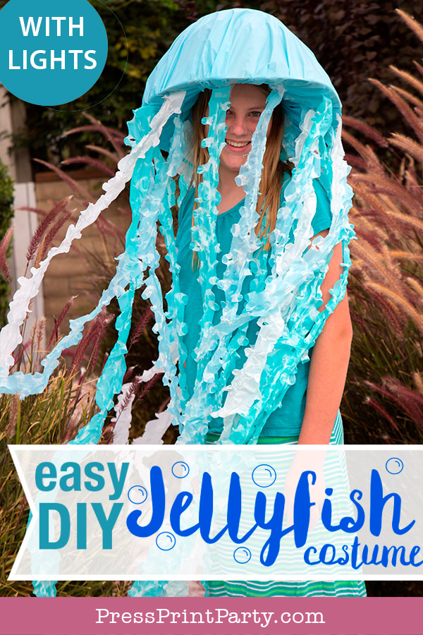 Easy DIY Jellyfish Costume DIY. jelly fish costume. under the sea halloween costume. light up costime. Jellyfish hat - Press Print Party!
