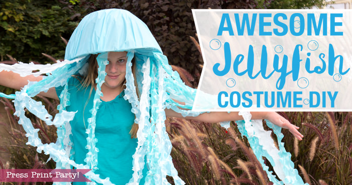 Awesome Jellyfish Costume DIY for Halloween - under the sea halloween costume ideas - jellyfish hat - led light up costume -Press Print Party!