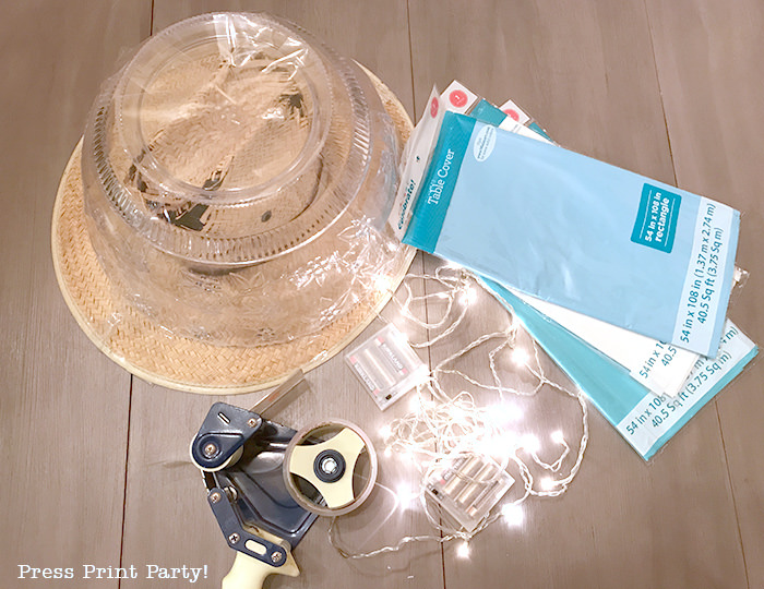 materials for jellyfish costume - jellyfish hat - led lights - packaging tape -Press Print Party!