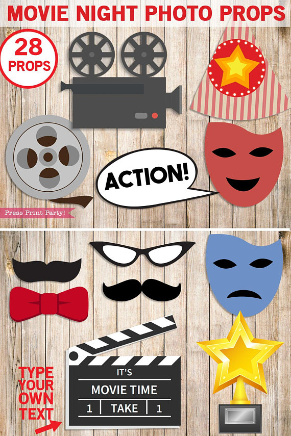 movie night photo booth props - Hollywood party props - printables by Press Print Party!