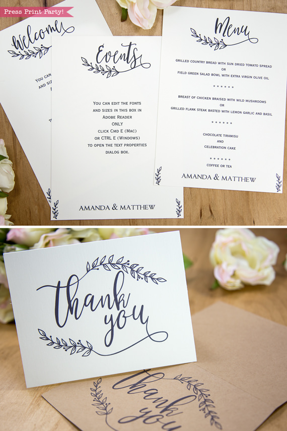 Rustic Wedding Invitation Template Printable Set, Wedding Invitation Suite, w rsvp cards, envelope insert, address label, more cards & decor extras like banners and menus - Rustic Leaf Design- Press Print Party!