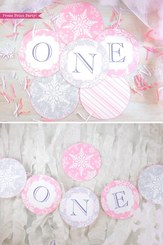 Winder ONEderland Printable girl birthday party banner pink and silver snowflakes - Press Print Party!