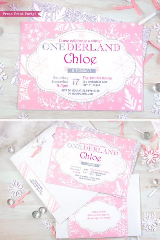 Winder ONEderland invitation Printable girl birthday party invitation in pink and silver snowflakes - Press Print Party!