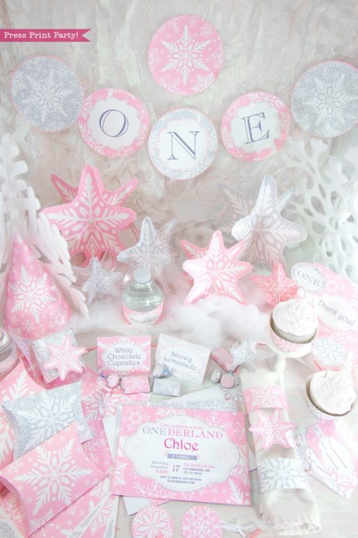 Winder ONEderland Printable birthday party decorations - banner, invitation, hat, cupcake toppers, in pink and silver snowflakes - Press Print Party!