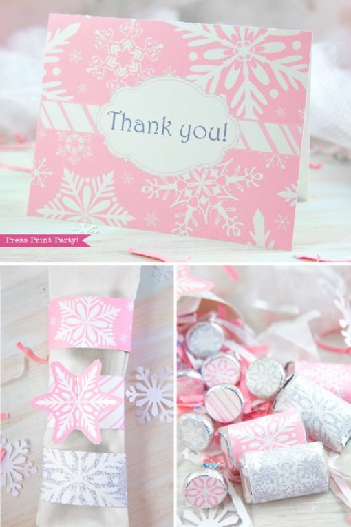 Winder ONEderland Printable birthday party thank you note, napking rings and hershey kisses labels in pink and silver snowflakes - Press Print Party!