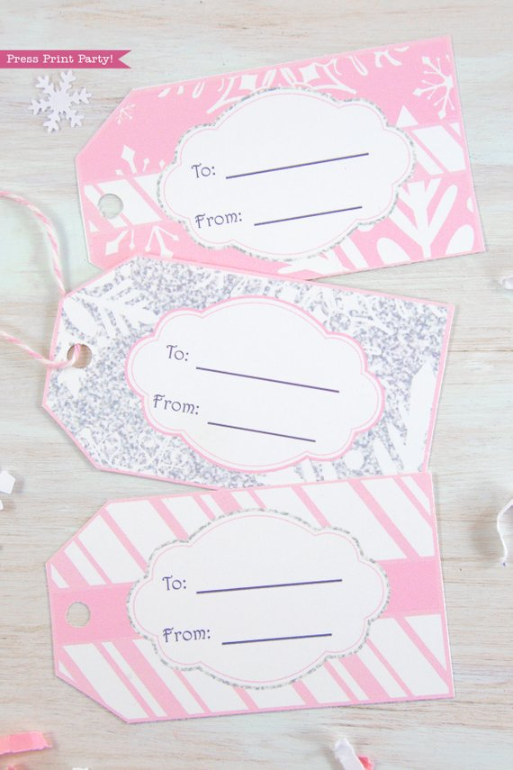 Winder ONEderland Printable birthday party favor tags in pink and silver snowflakes - Press Print Party!