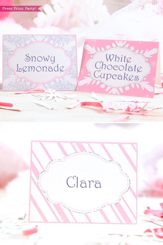 Winder ONEderland Printable place card in pink and silver snowflakes - Press Print Party!