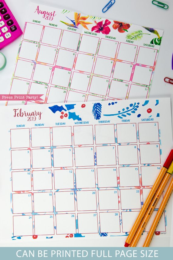 2019 Calendar Printable, Monthly Calendar, watercolor designs. For bullet journals or A5 planners - bujo. Press Print Party!