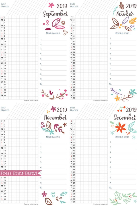 2019 Daily Task Tracker Printable, bullet journal habit tracker,goal tracker, whimsy designs. For bullet journals or A5 planners. Press Print Party!