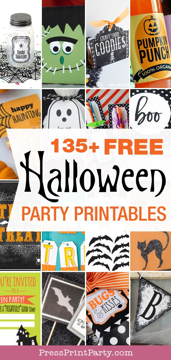 135 + Free Halloween party printables - Press Print Party! Halloween free printables. labels for jars, favor box, water bottle labels, halloween gift tags, tic tacs, banners, free printable Halloween party invitations.