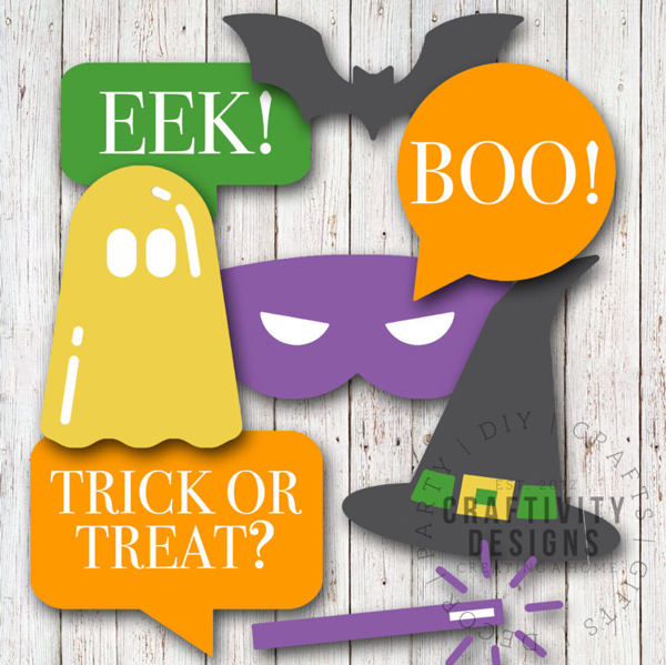 Free Halloween Printables - photo booth props - List by Press Print Party!
