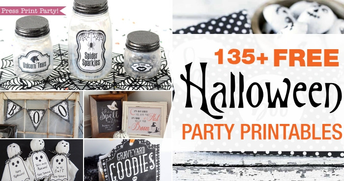 135 + Free Halloween party printables - Press Print Party! halloween free printables. jar labels, banner, sings, ghosts, tic tac.