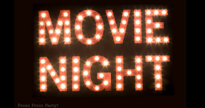 Movie Night lit up theater marquee lights. - Press Print Party!