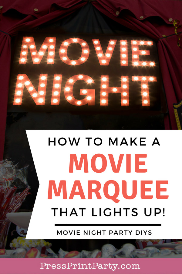 Movie Night lit up theater marquee lights. How to make a movie marquee that lights up - Press Print Party!
