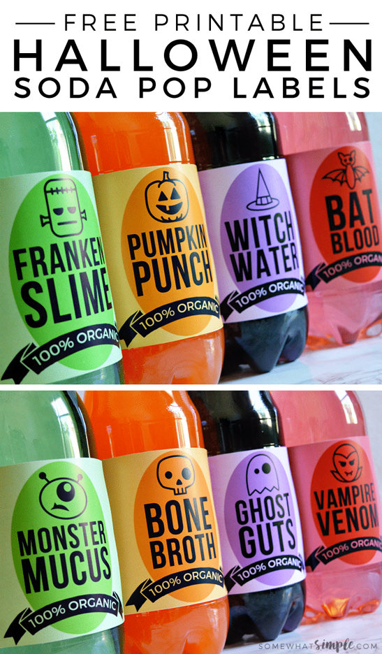 Free Halloween Printables - bottle wraps - List by Press Print Party!
