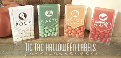 Free Halloween Printables - tic tacs labels - List by Press Print Party!