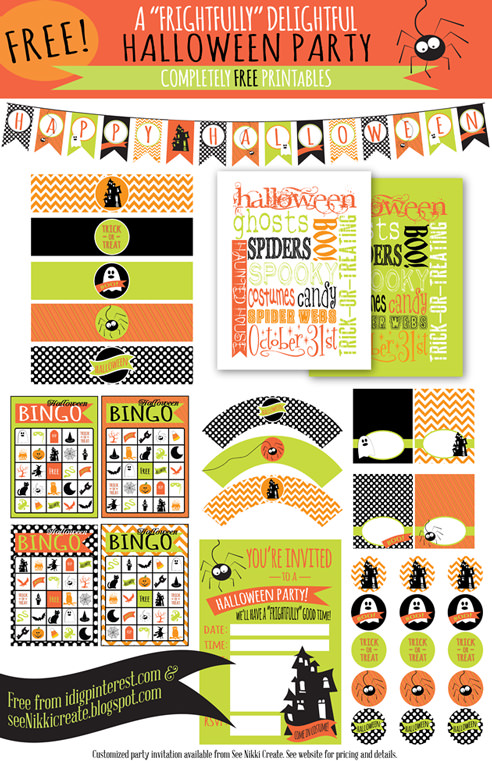 Free Halloween Printables - party printables - List by Press Print Party! Free printable halloween party invitations