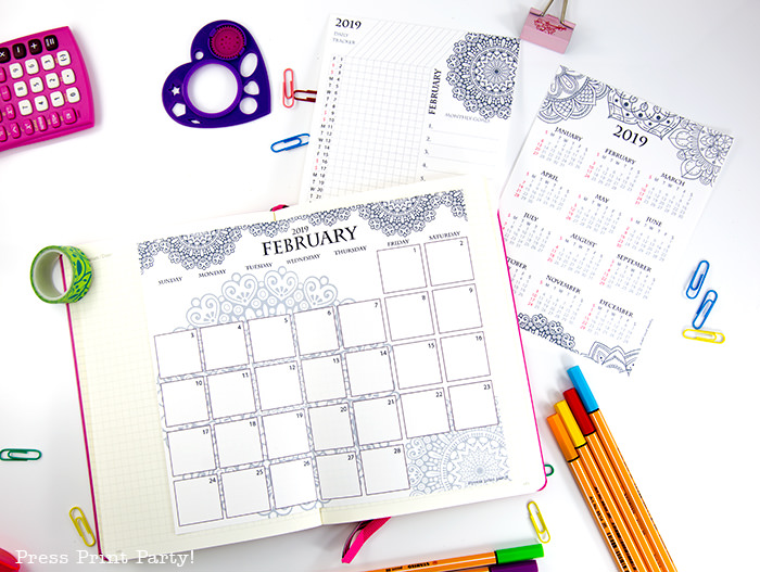year at a glance calendar, monthly calendar and habit tracker with mandala coloring design - Press Print Party!