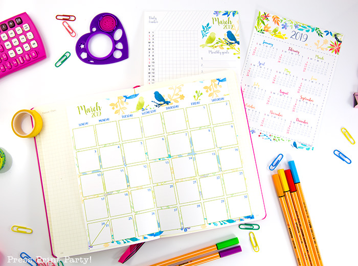year at a glance calendar, monthly calendar and habit tracker with watercolor design - Press Print Party!