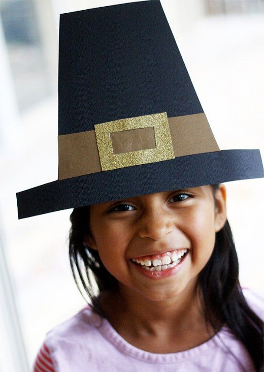 Girl with paper pilgrim hat free template - Press Print Party!