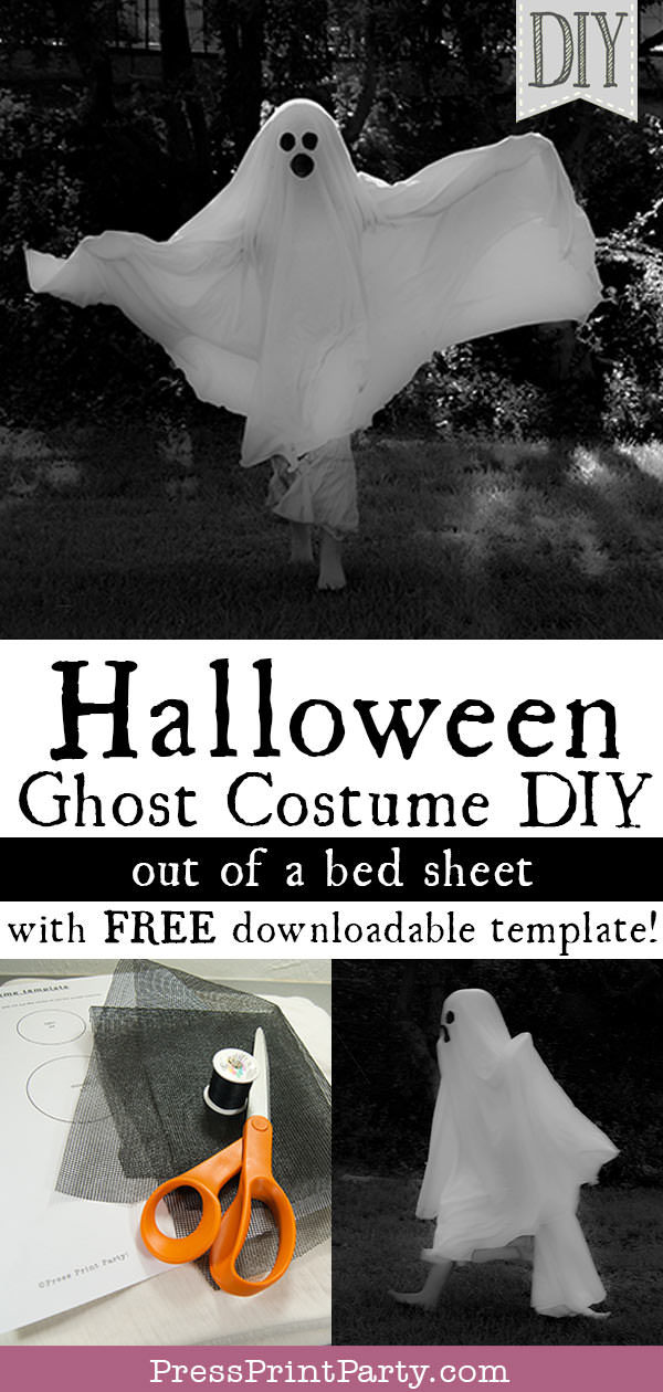 Halloween ghost costume diy out of a bed sheet. With free downladable template. Press Print Party!