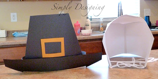 Paper pilgrim hat and bonnet with free printable template