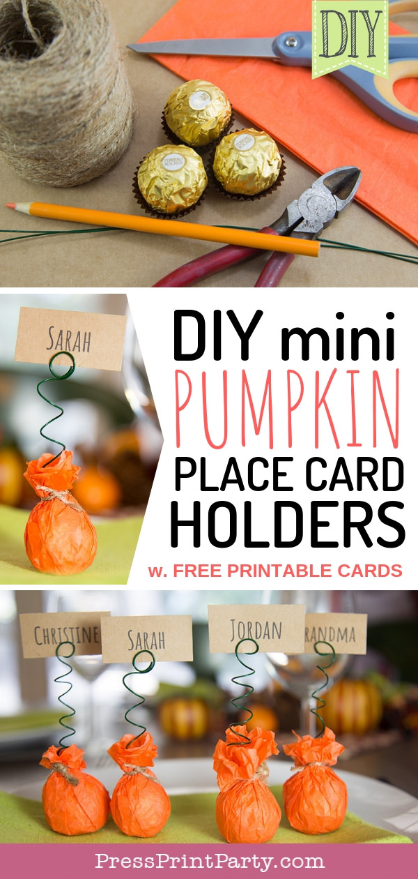 DIY mini pumpkin place card holders w free printable cards Press Print Party!