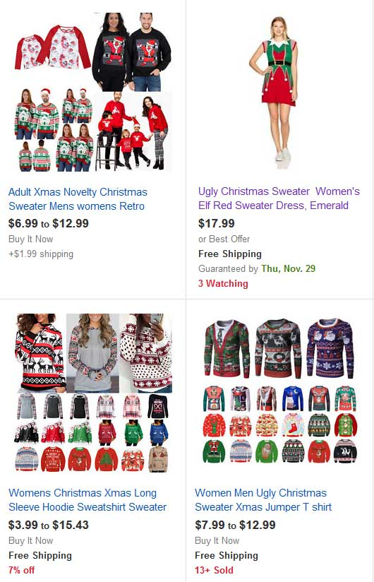 eBay ugly Christmas Sweaters.