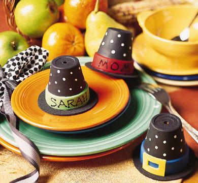 Flower pot pilgrim hats thanksgiving place card ideas diy craft
