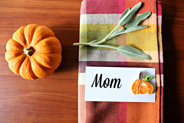 quilling thanksgiving place cards pumpkins craft diy