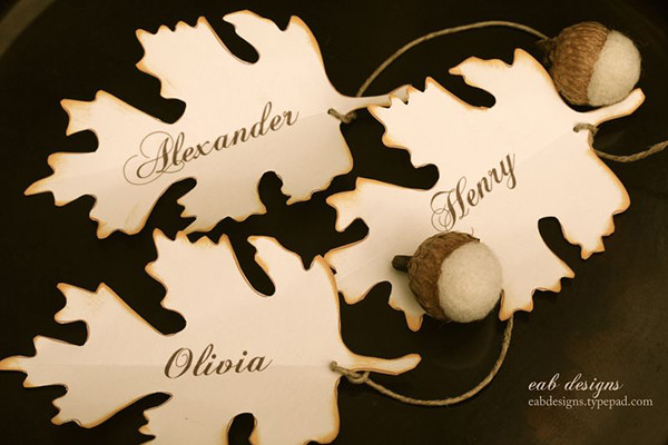 wooden leaf thanksgiving place cards etsy
