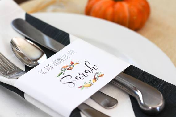 Silverware wrap Editable Thanksgiving Place card