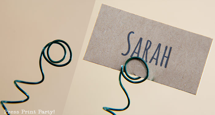 floral wire bent to hold a place card - press print party!