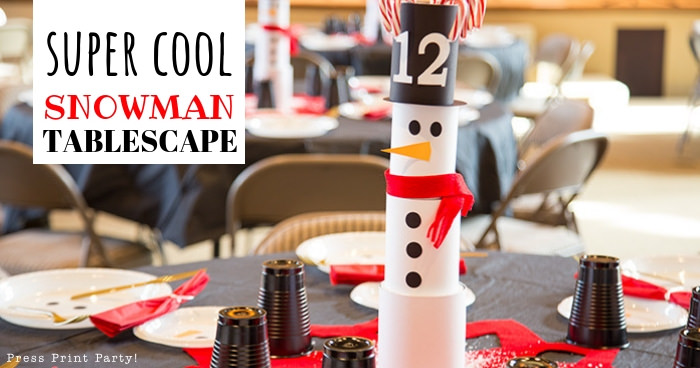 christmas snowman table decor - tablescape - made with cans - Press Print Party!