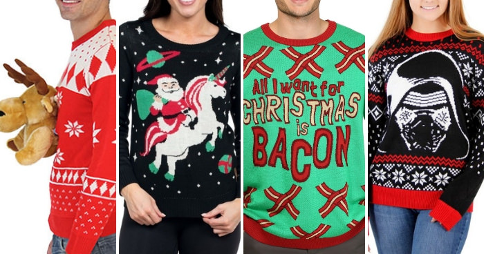 "The best places to find your ugly christmas sweater. 4 pictures with a 3D moose sweater, a santa riding a unicorn sweater, a ""All I want for Christmas is bacon"" sweater and a Star Wars Darth Vader Christmas Sweater - Press Print Party!"
