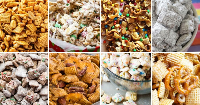 collage of party mix recipes made with Chex cereal