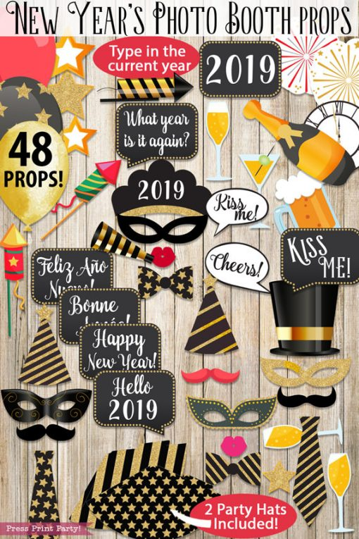 48 New Year's Eve Photo Booth Props Printables with hats, mustaches, masks, balloons, speech bubbles, champagne glass, champagne bottle, noise makers, bow ties and more. Press Print Party!