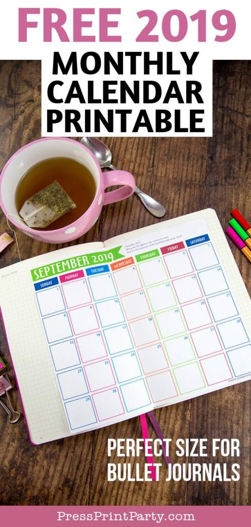 free 2019 monthly printable calendar - Perfect size for bullet journals. Press Print Party!