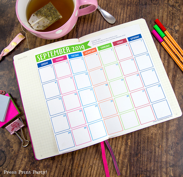 free 2019 printable calendar on wood with tea and pens - Press Print Party!